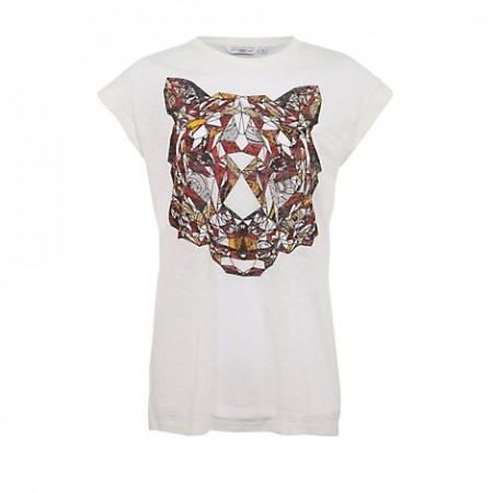 White Geometric Tiger Print Boyfriend T-Shirt